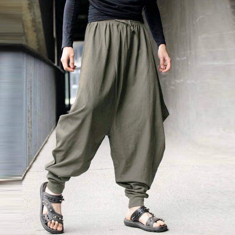 YYG-Men Solid Elastic Waist Workout Casual Wide Leg Crotch Capri Pants Trousers