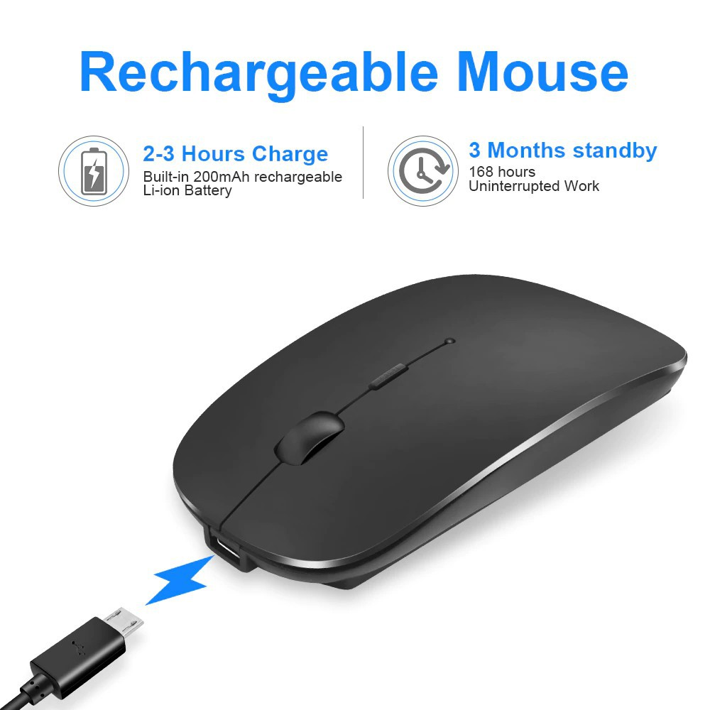 Wireless Mouse Bluetooth 2.4GHz Receiver Optical Adjustable Wireless Mice Silent Rechargeable Mouse for PC Laptop Mac