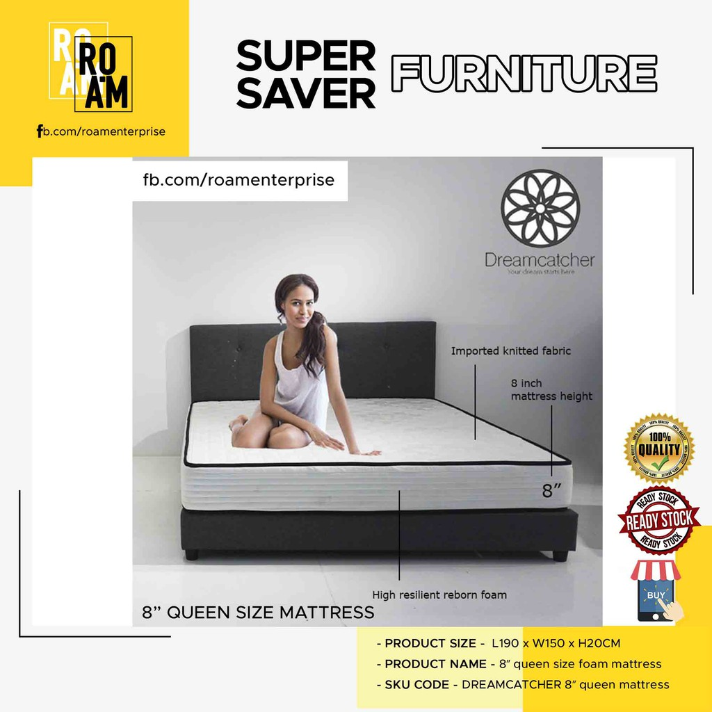 (FREE SHIPPING)  DREAMCATCHER 8″ queen size foam mattress TILAM INCLUDE SHIPPING