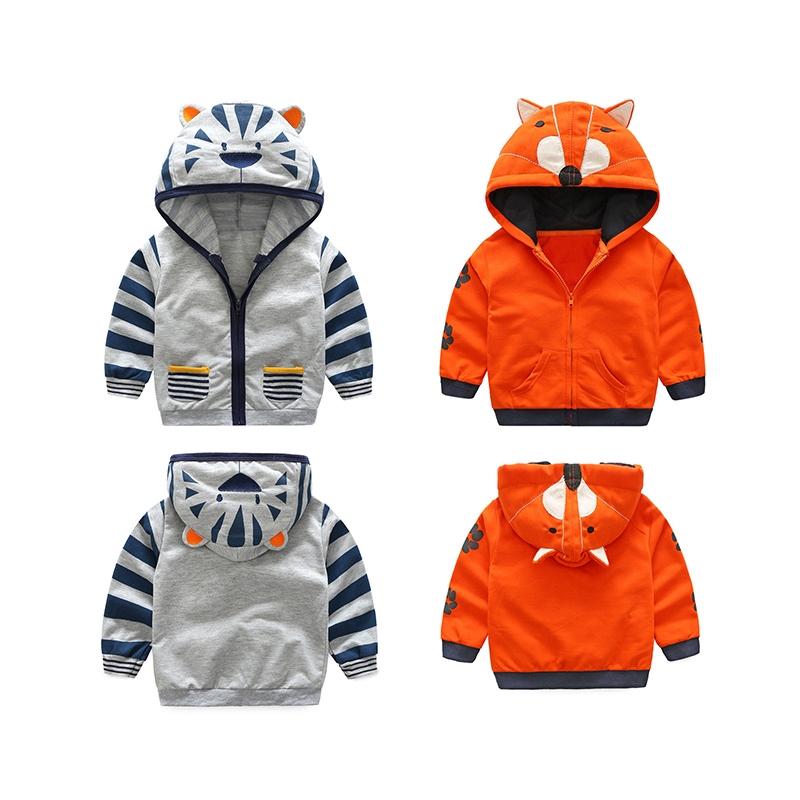 Toddler Kids Baby Boy Girl Cartoon Hooded Coat Zipper Tops Fall Jacket Outerwear