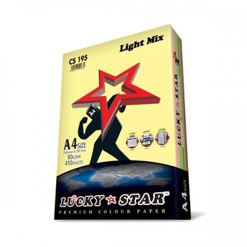 LUCKY STAR A4 LIGHT MIX COLOUR PAPER 80GSM