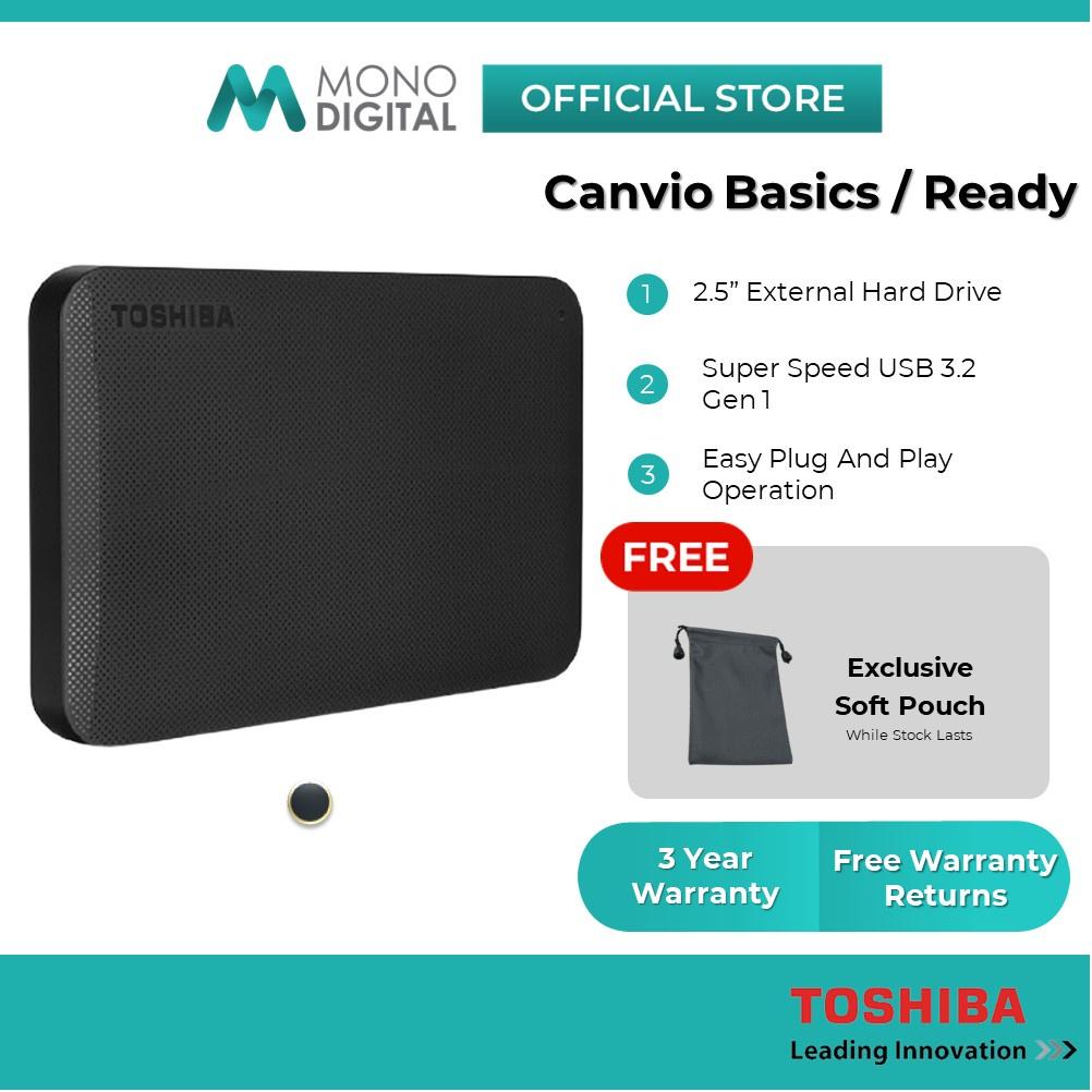 Toshiba External Hard Disk Canvio Basics /Canvio Ready Portable HDD USB 3.0 (500GB/1TB/2TB/4TB ) (Free Soft Pouch)