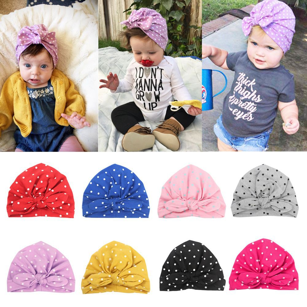 b28dc8b4c Baby Girl Cute Dot Pattern Hat Headband Headwraps Elastic Bunny Ears ...