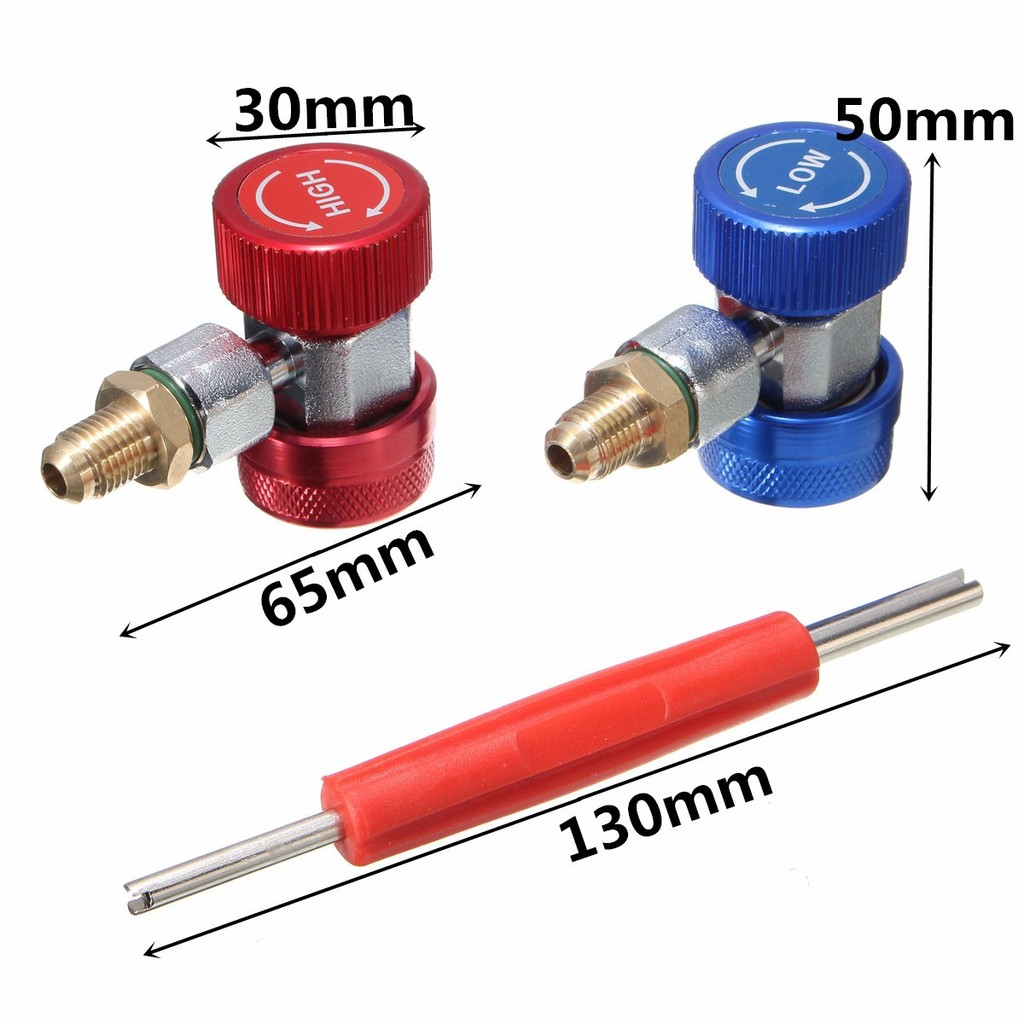 90° High//Low Pressure Quick Adapter R134a A//C Manifold Gauge Conversion Kit US