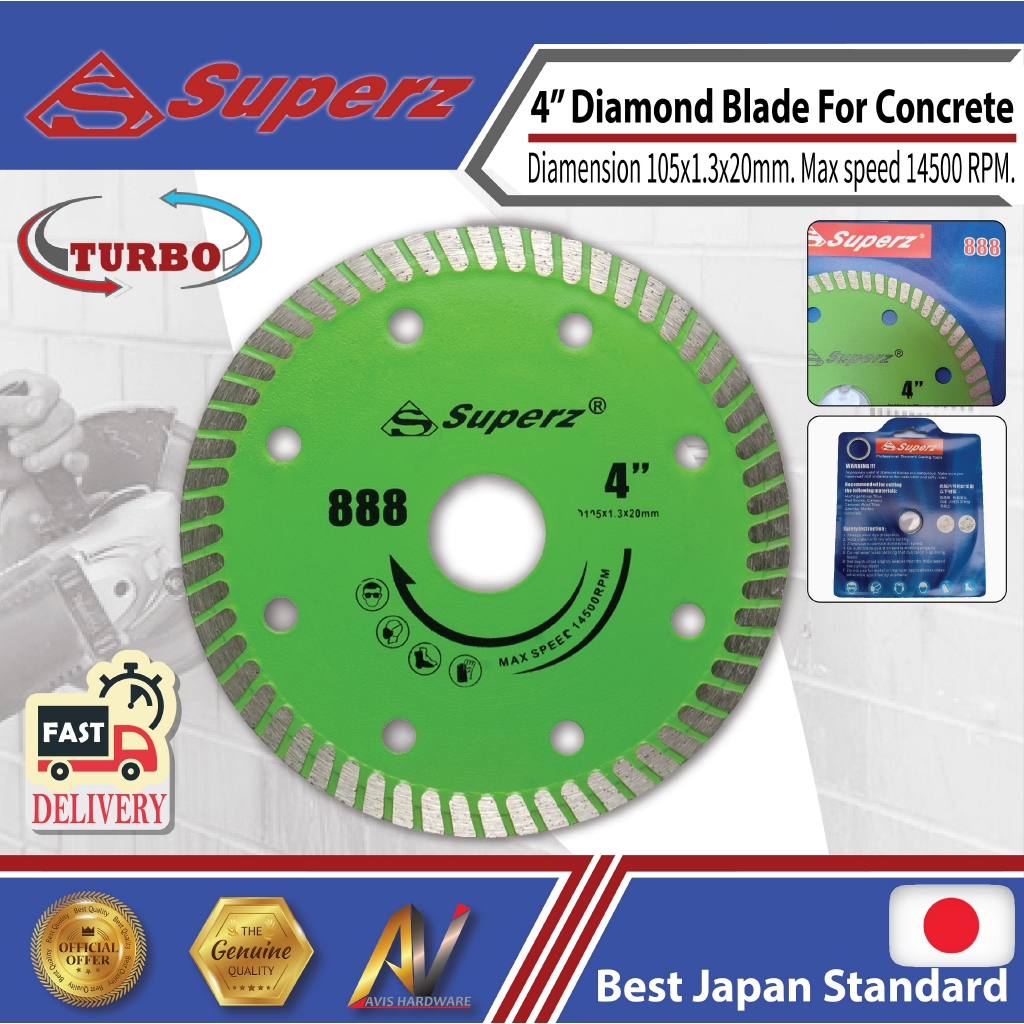 "Superz 888 4"" 108mm Diamond Blade for granite, ceramic tiles, marble"