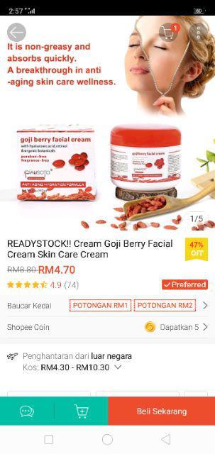 READYSTOCK!! Cream Goji Berry Facial Cream Skin Care Cream