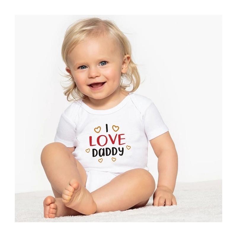 Newborn Baby Dad Love Short Sleeve Romper Onesie Bodysuit Jumpsuit