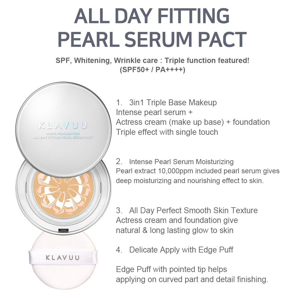 Klavuu White Pearlsation All Day Fitting Pearl Serum Pact 12.5g SPF50 PA+++