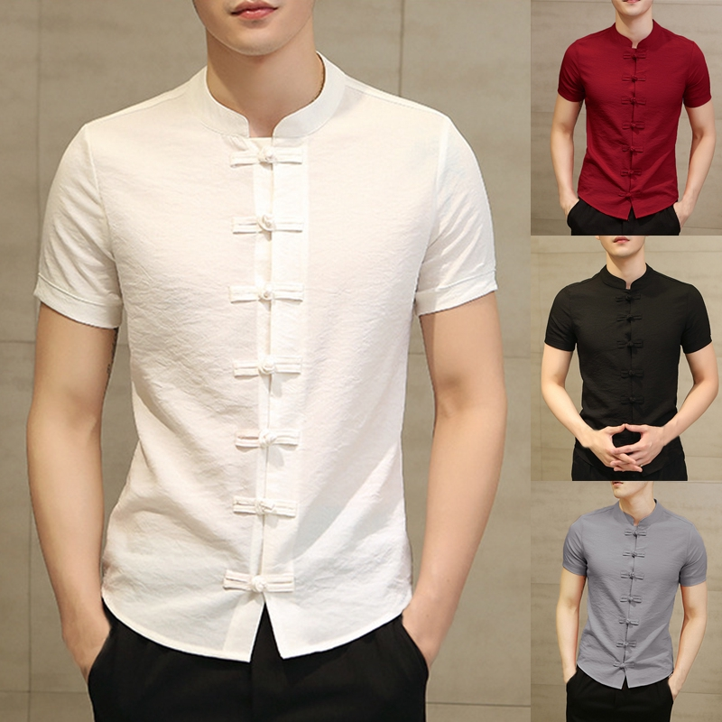 Men Summer Casual Short Sleeve Stand Collar Chinese Style Vintage Button Shirts