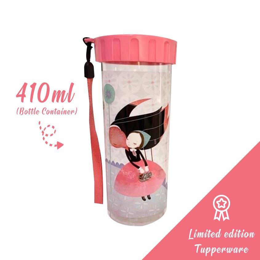 Tupperware Flower Fairy Bottle 410ml purple pink black bottle