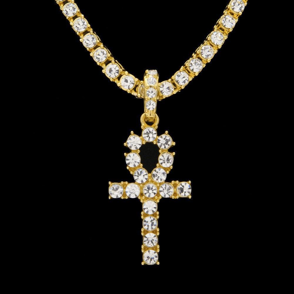 6161f99c9a2e68 ProductImage. ProductImage. 14k Gold 5MM Lab Diamond Iced Out Chain Men's  Hip Hop Tennis Necklace