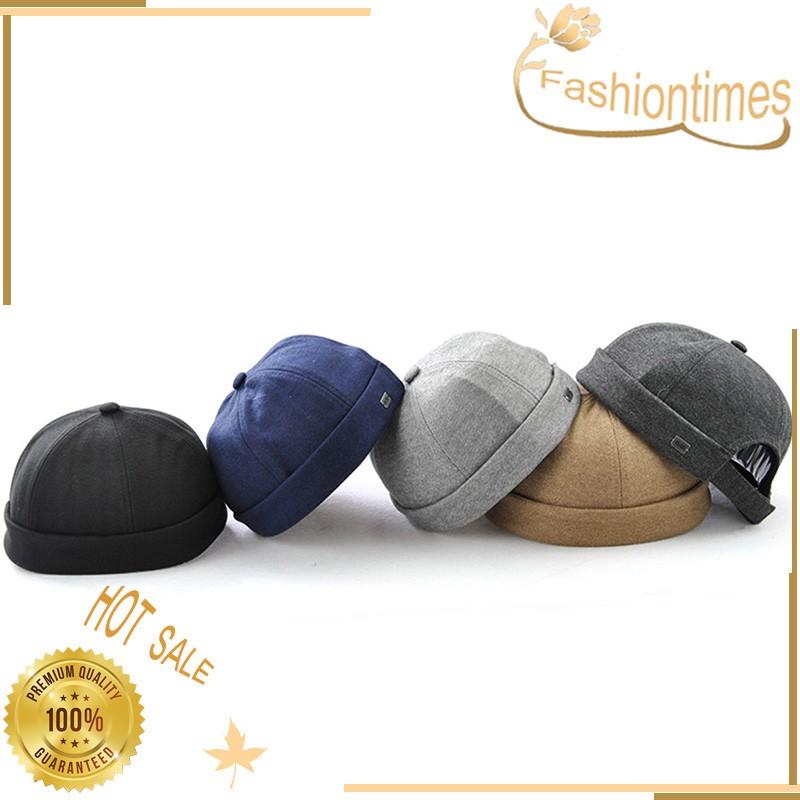 03604269 Men Skullcap Hat Cap Docker Sailor Mechanic Beanie Brimless Solid Color |  Shopee Malaysia