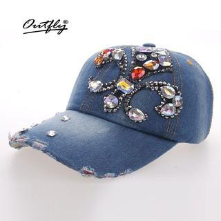 9c18ea0bf Diamond cap Rhinestone Leisure jean Hat women floral Denim baseball ...