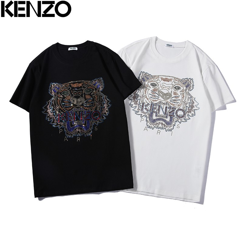 SIZE:S-XL Hot MEN WOMEN EMBROIDERE KENZO PARIS TIGER LOGO T-Shirts black