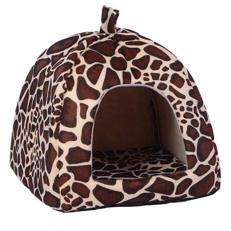 Soft Leopard Pet Dog Cat Bed House Kennel Doggy Puppy Warm Cushion khemah  kucing