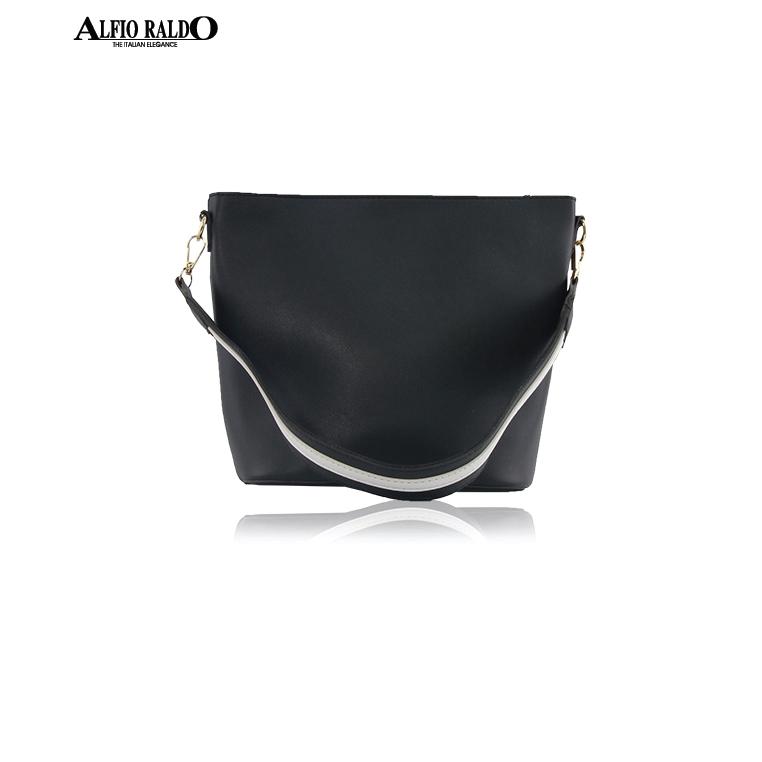 [SHOPEE EXCLUSIVE] AR by Alfio Raldo Formal Black Sling Crossbody Bag with Twist Lock Front Pocket