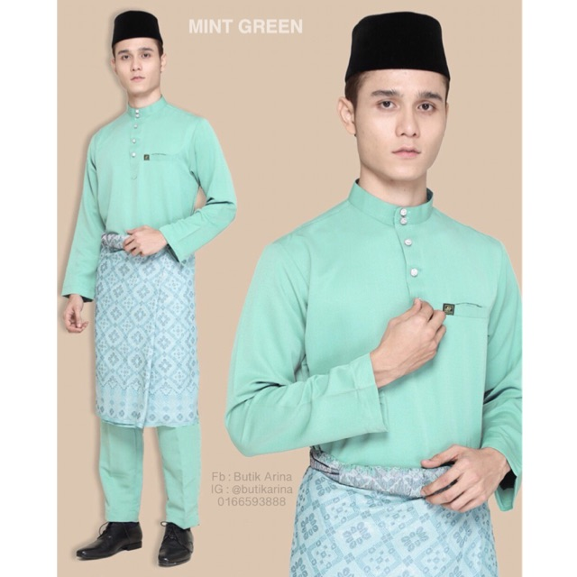 Baju Melayu Hijau Turquoise Gelap
