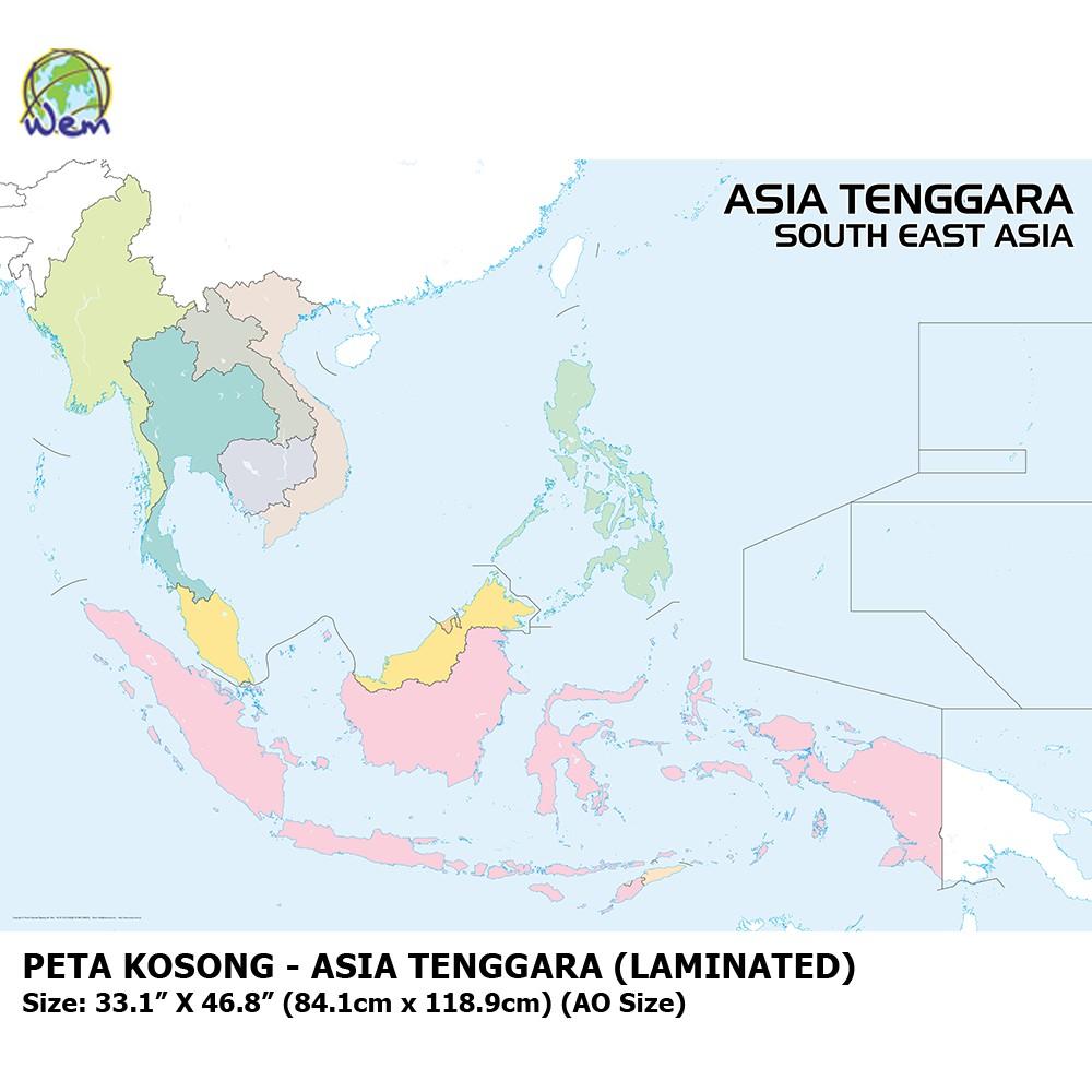 Peta Kosong Asia Tenggara South East Asia Outline Map Laminated Shopee Malaysia