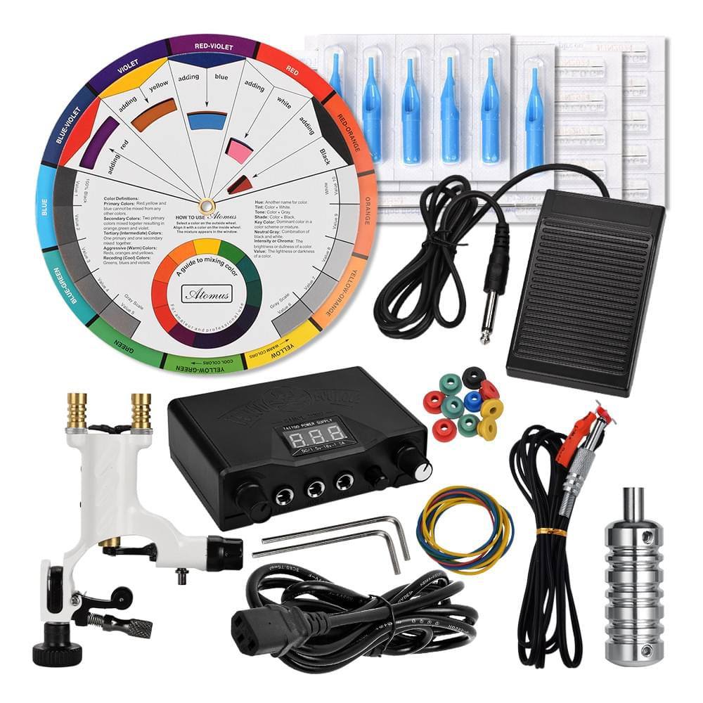 Kit Tattoo Machine Set Black Power Supply Color Wheel For Ink