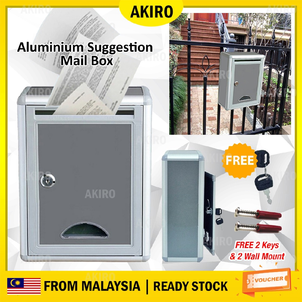 Picture of: Akiro Aluminium Mailbox Suggestion Letter Box Wt Security Lock Key Outdoor Waterproof Post Newspaper Durable Home Office Shopee Malaysia