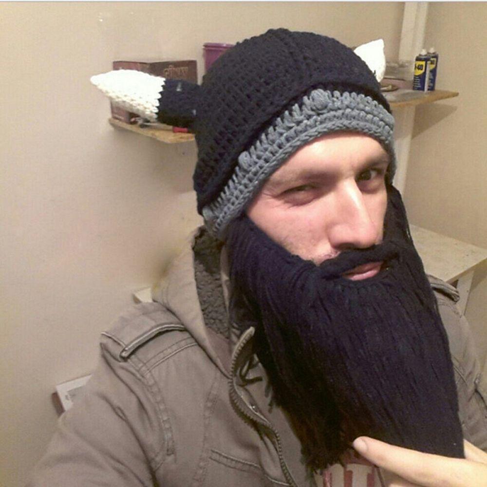 4317cf42734 Party Men Handmade Knit Viking Beard Hat Crazy Ski Cap Cool Beanie Horns Hat
