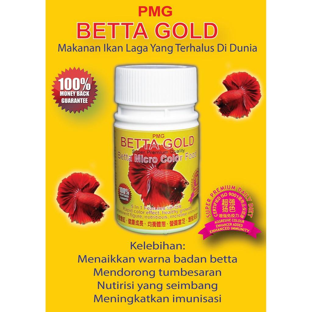 20g PMG Betta Gold Fish Food 0.8mm for Tropical Fish & Fighting Fish | Makanan Ikan Laga | Warna dan Tumbesaran