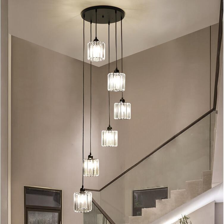 Modern Home Decor 6 8 Lights Led Chandelier Lighting Pendant Lamp Ceiling Light Stairs Led Lamp Villa Light Fixtures Shopee Malaysia