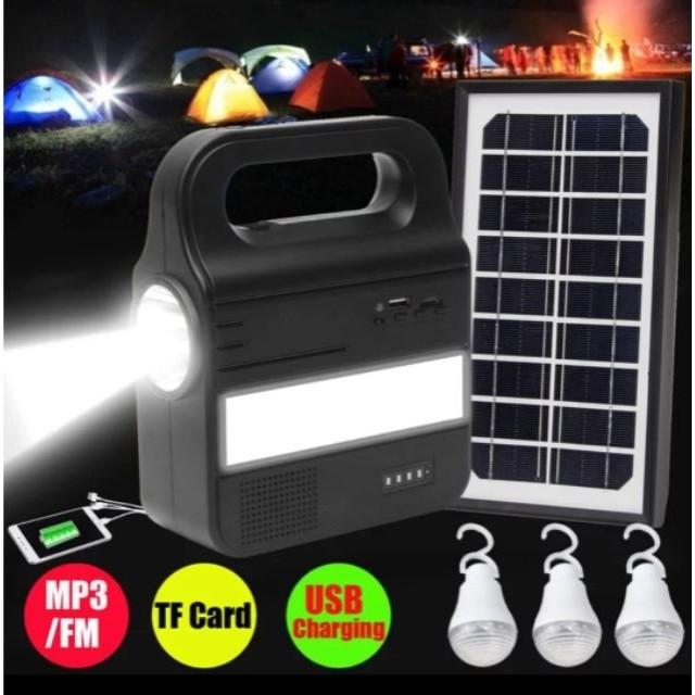[ READY STOCK ]  Solar System Generator Lamp Bulb Radio FM MP3 Pelita Lampu Raya Jualan Murah Flood Light Charger Flash