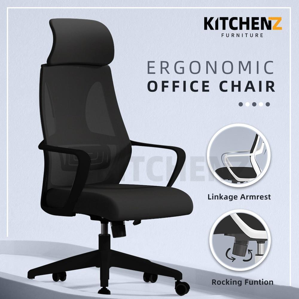 (2 Years Warranty) KitchenZ High Back Mesh Office Chair with Ergonomic Design / Kerusi Pejabat - HMZ-OC-HB-9010