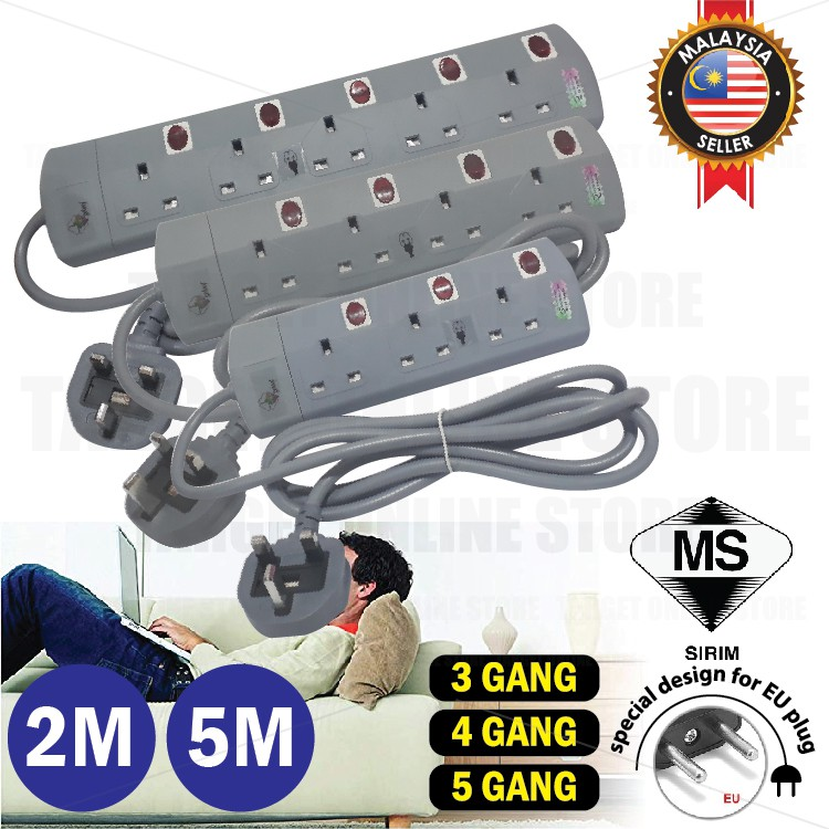 SIRIM APPROVED 2M/5M Extension Trailing Power Adapter 3Gang 4Gang 5Gang