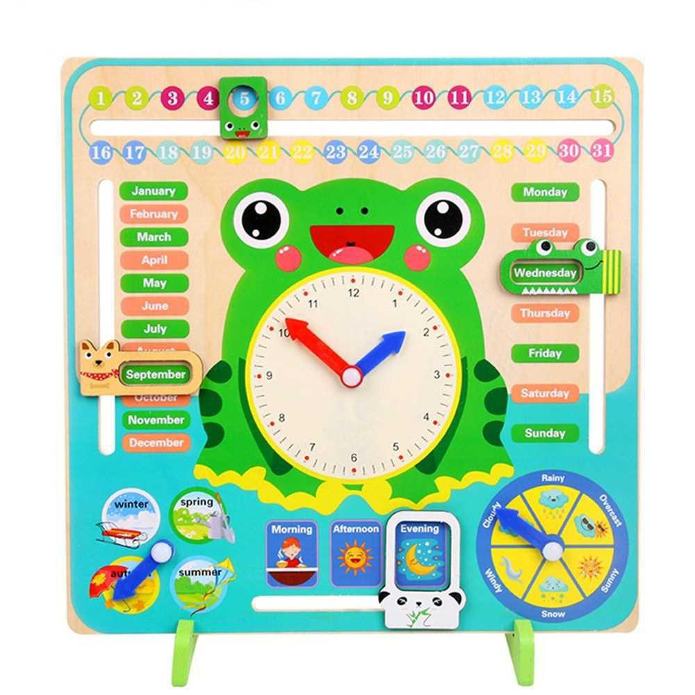 Multi-Functional Wooden Clock Educational Timing Learning Tool Time Date Season Weather for Preschoolers (Standard)