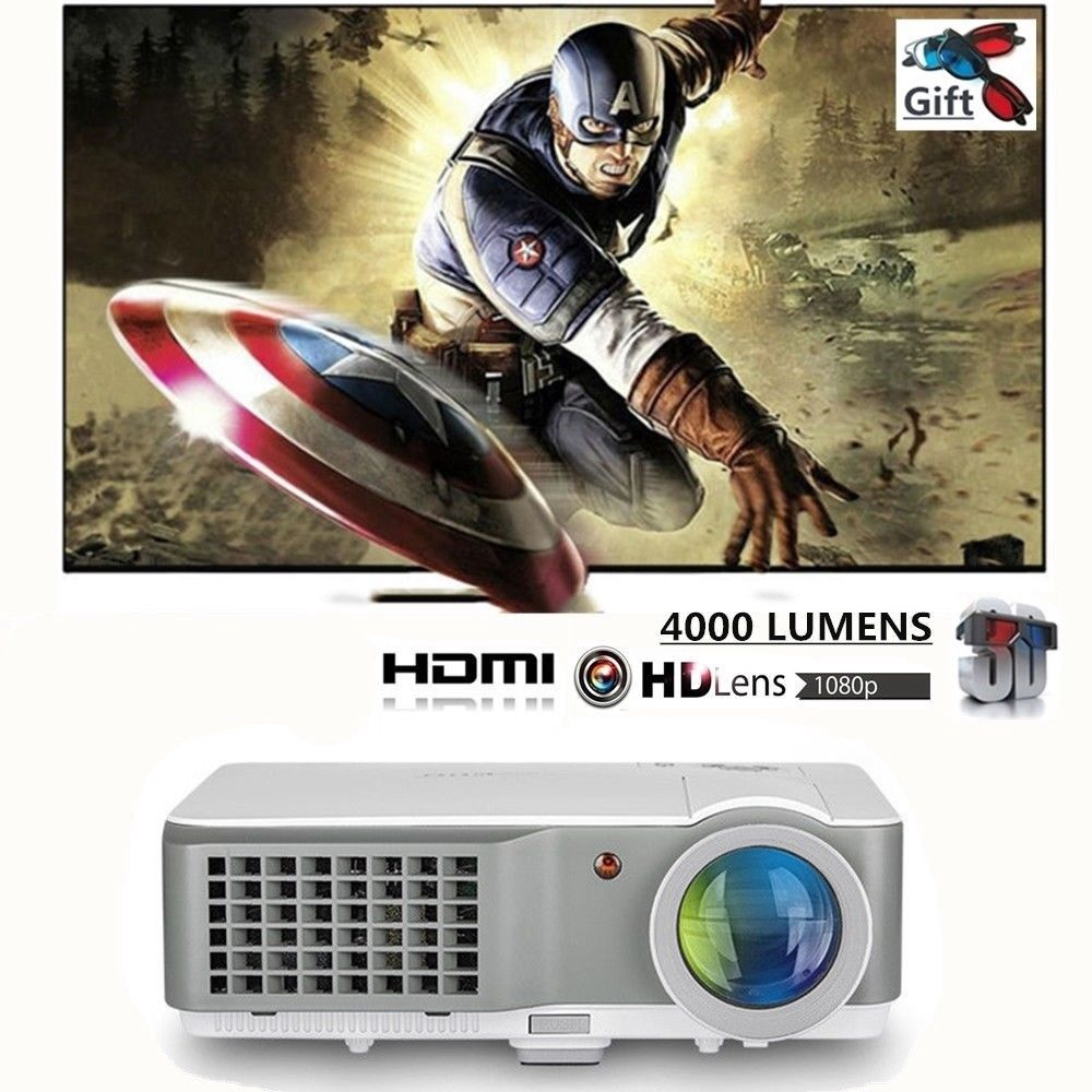 HD 4000Lumen LED Video LCD Smart Projector 1080p Home Theater Movie Night MY