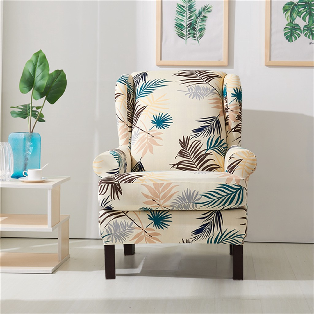 Printed Armchair Wingback Wing Arm Chair Sofa Recliner Cover Stretch Slipcover