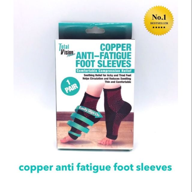 copper anti fatigue foot sleeves ถุงเท้าลดป่วยเมื่อยบริเว