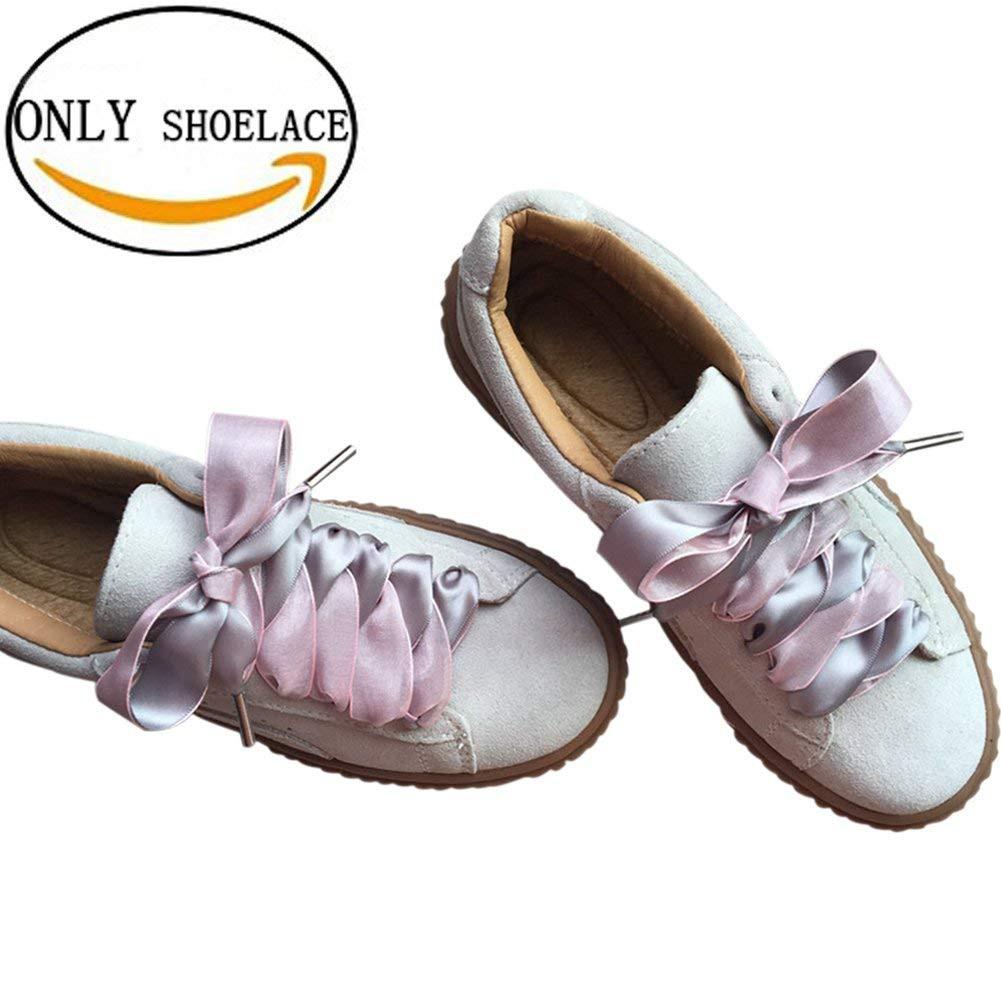 caa5db2bf8e8f 1 Pair Flat Silk Satin Ribbon Sports Shoes Lace Sneakers Shoestrings Pink &  Grey