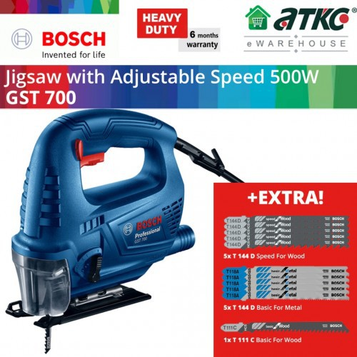 BOSCH GST 700 Jigsaw 500W With Adjustable Speed + EXTRA Jigsaw Blade (06012A70L2)