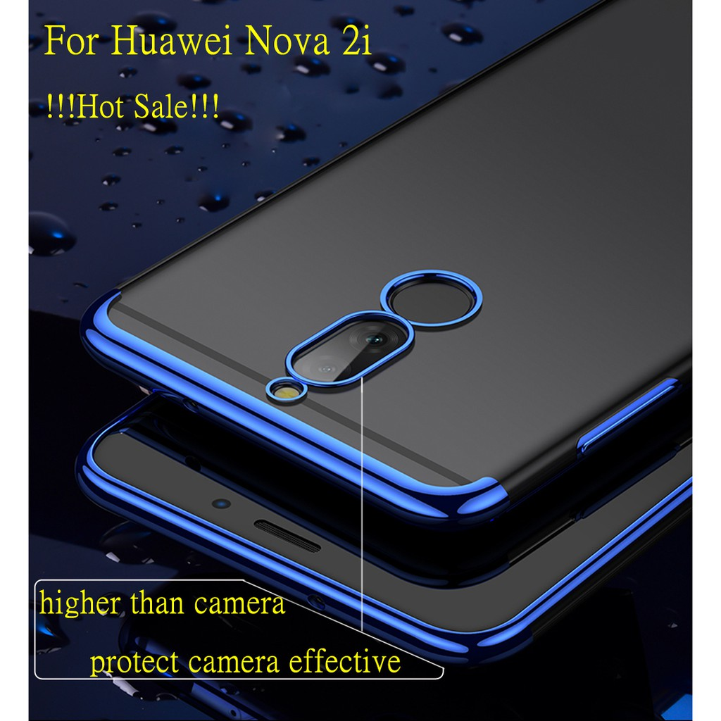 buy popular 875cd 77ce0 For Huawei Nova 2i Transparent Clear Electroplate Soft Silicone TPU Case  Cover