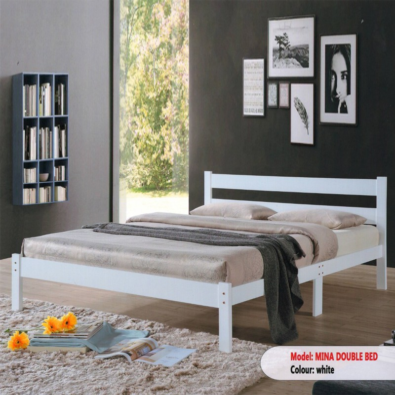 MINA solid wood queen size bed frame/ katil queen/ katil kayu queen