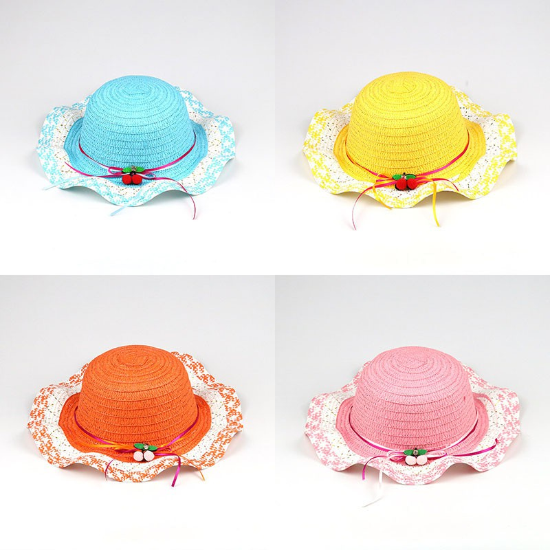 db78c20e8 2018 New Children Sun Hats Summer Color Child Sun Straw Hat Wide Brim Beach  Cap