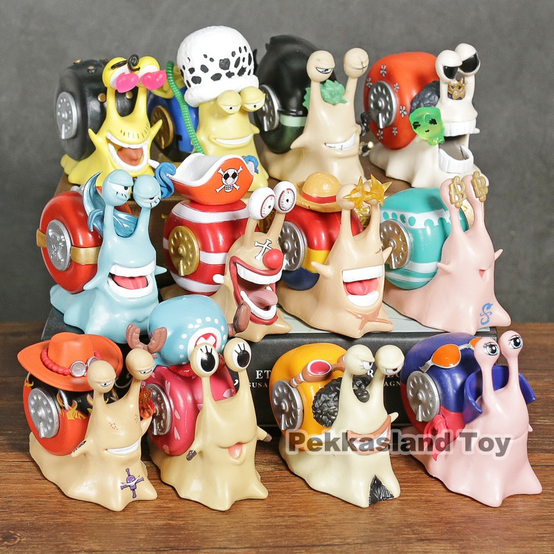 12PCS Anime One Piece Den Den Mushi PVC Action Figure Collect Figurine Toy Gift