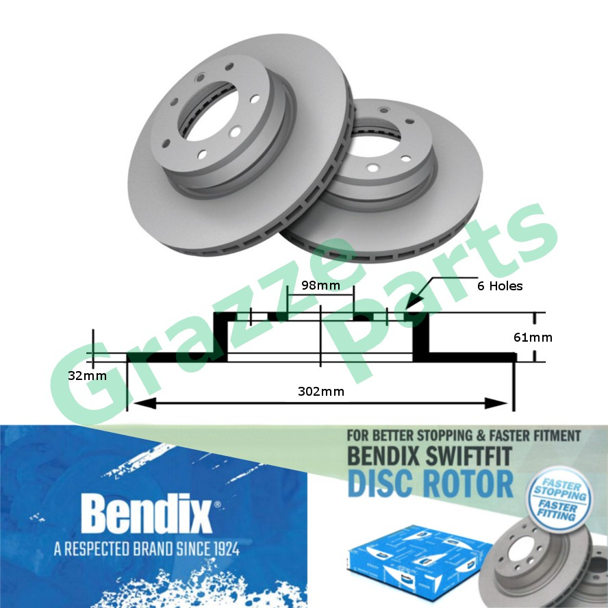 (1 pc) Bendix Swiftfit Disc Brake Rotor Front for BR9542 / UC2B-33-251B Ford Ranger T6 2012