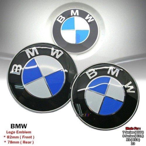 Blue +White BMW Hood Roundel Emblem Logo Replacement Hood or Trunk Emblem Logo Front 82mm Rear 74mm for All Models BMW E30 E36 E46 E34 E39 E60 E65 E38 X3 X5 X6 3 4 5 6 7 8