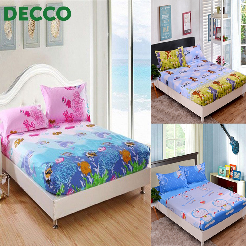 Decco 4 In 1 Queen Size Fitted Bed Sheets Cute Cartoon Design 3 Designs Available Shopee Malaysia