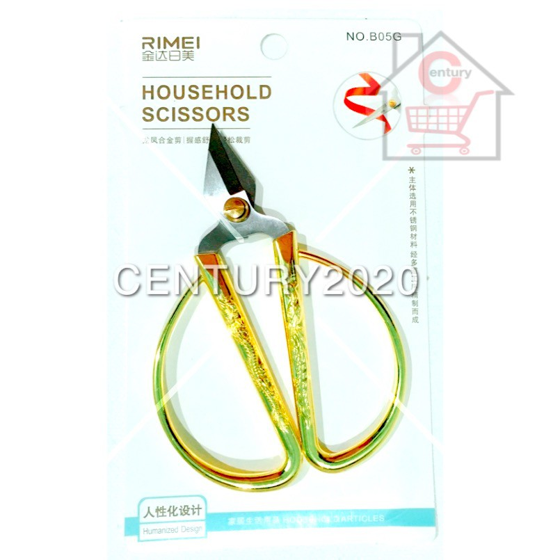 RIMEI Household Scissors Heavy Duty Extra Sharp Stainless Steel Scissors With Gold Plated Dragon Phoenix Handle