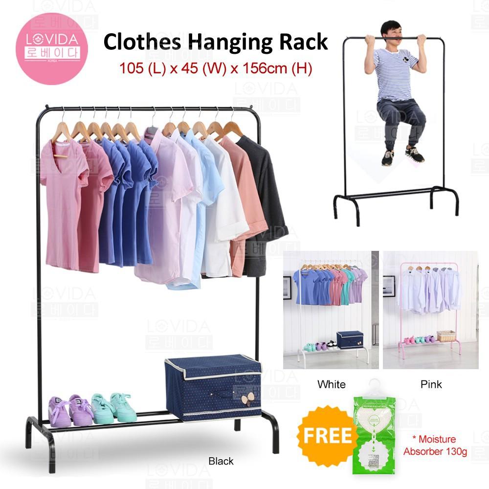 LOVIDA 2 in 1 DIY Wardrobe Stainless Steel Organizer Storage Hanger Cloth  Rack