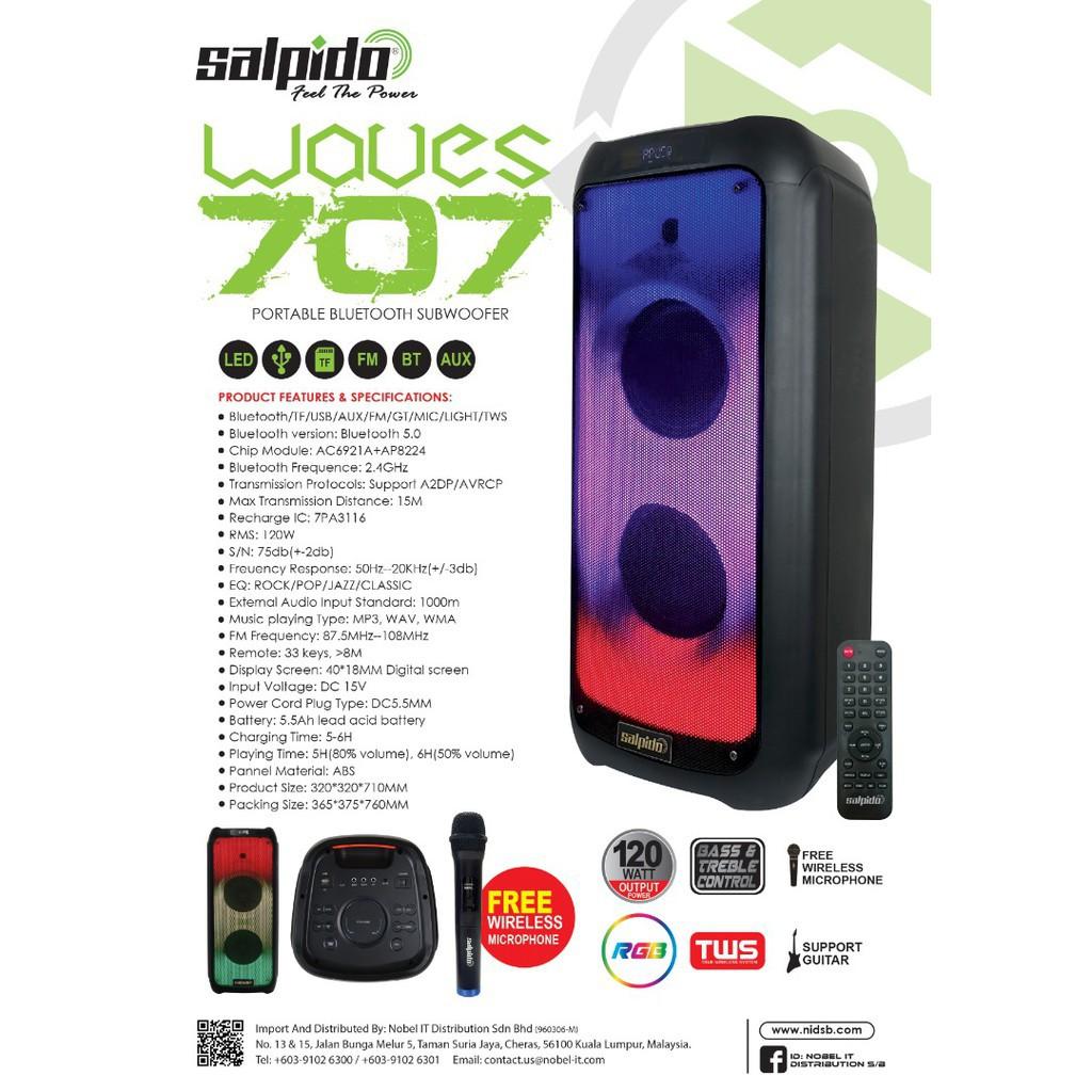 Salpido Portable Bluetooth Subwoofer Waves 707 - LED light, FM, 50HZ-20HZ