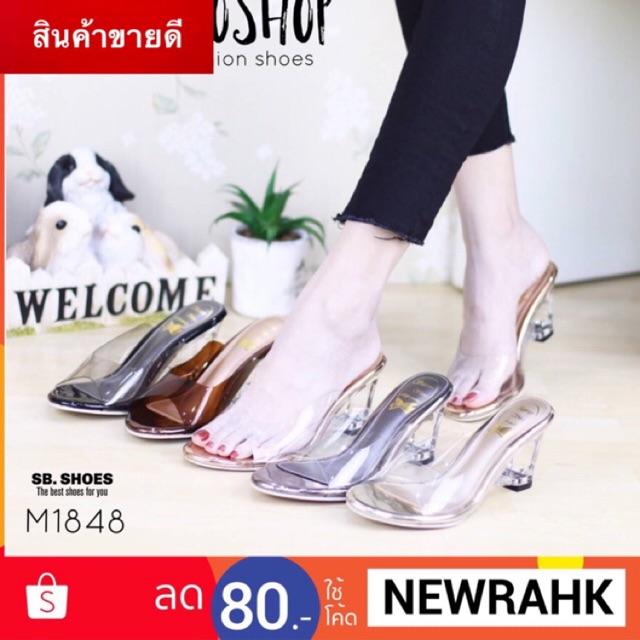 ♥โค๊ด NEWRAHK ลดเพิ่ม 80฿♥ รองเท้าส้นแก้ว เปิดเท้า สูง 2
