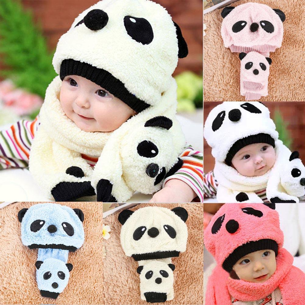 3fc301773 [QUILETY] Super Cute and Warm Children Wool Panda Cap Match Scarf Cartoon  Hat