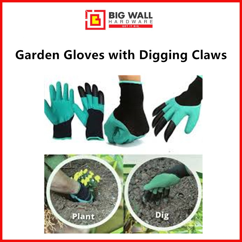 Garden Gloves with Digging Claws - Comfortable Quick Easy to Dig and Plant [Big Wall Hardware]