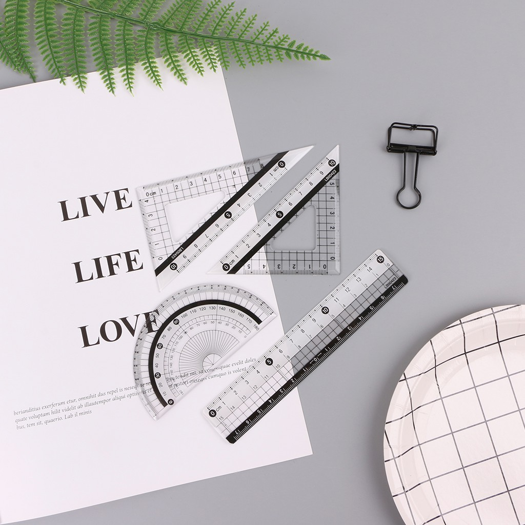Staedtler Mars Professional Protractor Ruler Triangle Set Stainless Steel
